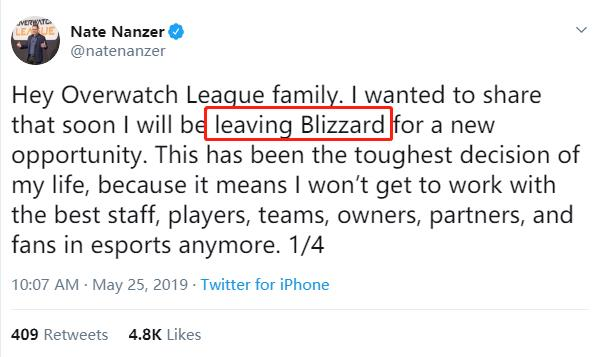 《守望先锋》联赛主席离职暴雪 将加入Epic Games