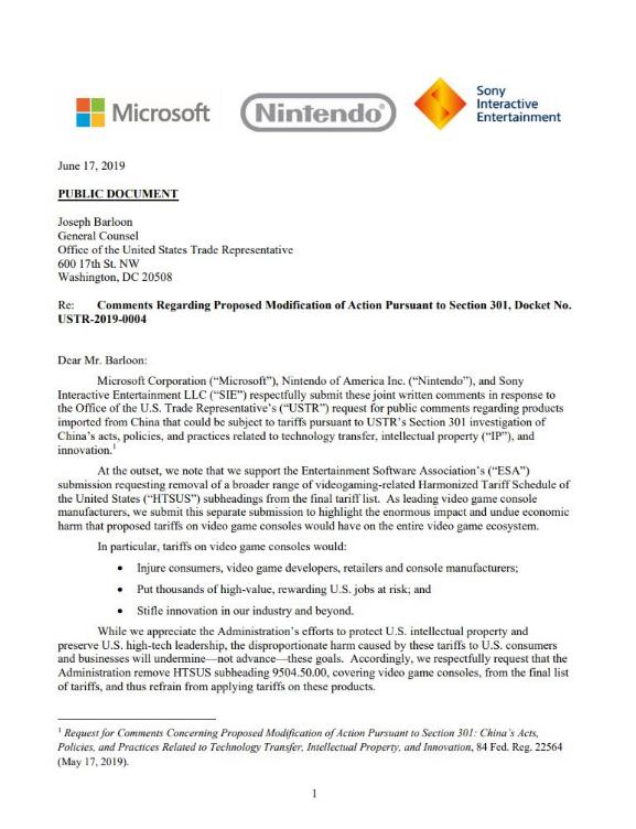 微软、索尼和任天堂联合抵制游戏机加征关税